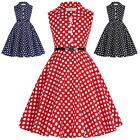 Children Kids Girls Princess Retro Vintage 50s Lapel Swing Party Polka Dot Dress