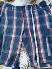 "32"" Waist Blue, White And Red checked cargo Shorts"