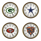 "NFL Team Logo 15"" Round Wall Clock Cappuccino Finish Frame Football Game Room $74.88 USD on eBay"