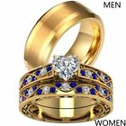 Yellow Gold Plated Couple Rings Titanium Steel Mens Band Heart CZ Womens Ring  image