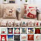 Christmas Xmas Theme Waist Pillow Cases Cushions Covers Cotton Linen Home Decor image