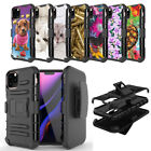Hybrid Dual Layer Case w/Stand+Holster Clip Cover for iPhone 11 Pro