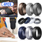 4x Silicone Wedding Ring Men/Women Gym Rubber Band Flexible Lifestyle Size 8-12