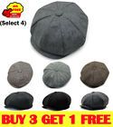 Mens 8 Panels Newsboy Flat Cap Peaky Blinders Baker Boy Golf Driving Beret Hat R