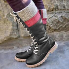 ✅Womens Mid Calf Fur Lined Snow Boots Ladies Knit Flat Zipper Winter Shoes Size