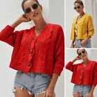 Womens Chunky Knitted Crochet Sweater Jumper Ladies Cardigan Coat Jacket Tops