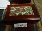 WOOD with TAPESTRY INLAY JEWELRY BOX8x5x3 good condition