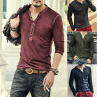 NEW Mens Button V Neck Long Sleeve Cotton T-Shirt Slim Fit Solid Casual Blouse image