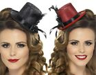 Ladies Red Or Black Mini Feathers Top Hat Fancy Dress Costume Outfit Accessory