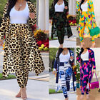 Womens Two Piece Set Floral Print Long Sleeve Cardigan Tops Bodycon Pants Outfit