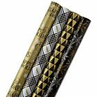 Hallmark Reversible Holiday Wrapping Paper Bundle, Black Black and Gold, 4 Pack