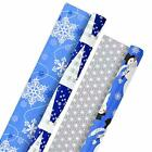 Hallmark Holiday Reversible Wrapping Paper Bundle, Blue Blue and Silver, 2 Pack