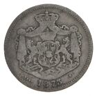 Roughly Size of Quarter - 1873 Romania 1 Leu - World Silver Coin *706