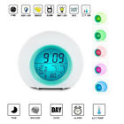 Digital LED 7 Color Glowing Change Snooze Clock Alarm Thermometer Nature Sound