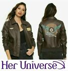 OFFICIAL CAPTAIN MARVEL BROWN BOMBER JACKET FAUX LEATHER COSPLAY CAROL DANVERS