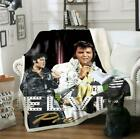 3D Print Elvis Presley Sherpa Blanket Sofa Couch Quilt Cover throw blanket D02