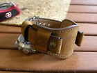 20mm 22mm Brown leather military watch band Men cuff bracelet strap  image