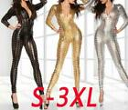 Sexy Hollow Metallic Bodysuit Catsuit Jumpsuits Playsuit Clubwear Wetlook S-3XL