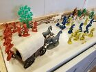 Vintage Plastic Cowboys & Indians made in China + Covered wagon and horses!