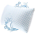 Memory Foam Cooling Pillow Heat and Moisture Reducing Ice Silk and Gel Infused