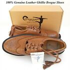 Scottish Kilt Ghillie Brogue Brown Shoes 100% Genuine Leather Shoes Sizes 6-13