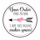 "30 1.5"" THANK YOU HEART MADE MY DAY FAVOR LABELS ROUND STICKERS ENVELOPE SEALS"