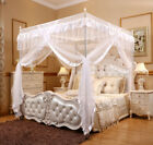 Princess White 4 Corners Post Bed Canopy Curtain Netting Mosquito Net Or Frame image