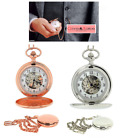 "Boxx Mens  Skeleton Mechanical Pocket watch Rose Gold / Silver 14"" BCHAIN image"