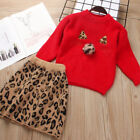 Two Piece Children's Autumn Winter Leopard Sweater Skirt Suit Girl Knit Clothing