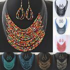 Kyпить Women Charm Necklace+Earrings Set Multilayer Collar Chain Women Jewelry Beaded на еВаy.соm