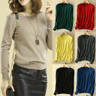 Women Knitted Crew Neck Cashmere Blend Jumper Pullover Sweater Soft Elasticity
