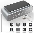 4-in-1 Desk Table Bedside Digital Alarm Clock Wireless Phone Charger Thermometer