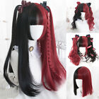 60CM Lolita Long Curly Black Mix Red Bangs Wavy Bob Ombre Cosplay Wig Ponytails