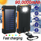 Waterproof 900000mAh Solar Power Bank with LED Light Charger Fast Smartphone
