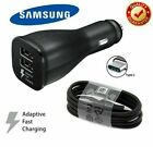 Genuine Samsung Galaxy S8 S9 S10 Dual Port 15W Fast Car Charger / C Type Cable