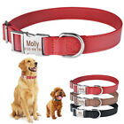 Personalised Dog Collar Soft Leather Custom Engraved Name Small Medium Large Pet