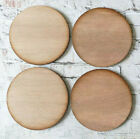 New Set of 4 plain dark wooden coasters blanks round, square or wavy edge 10cm