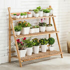 Foldable 3 Tier Bamboo Ladder Flower Plant Stand Storage Shelving Hanging Rack