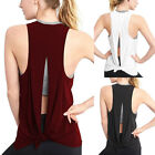 Women Lascivious Open Back Sport Vest Top Yoga Shirts Tie Workout Racerback Tank Tops
