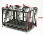 """Homey Pet 43"""" Heavy Duty Metal Bar Strong Dog Cage Crate Kennel w Divider Tray"""