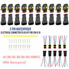 100X 2Pin Way Car Waterproof Male Female Electrical Connector Plug Wire Kit Set