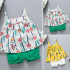 Newborn Baby Girl Floral Sleeveless Floral T-shirt Shorts 2pcs Outfits Sunsuit