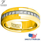 Tungsten Carbide Wedding Band Ring Eternity Cubic Zirconia Mens 8MM FREE ENGRAVE