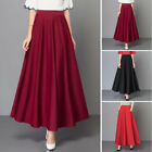Women High Waist Casual Long Skirt Ladies Party Solid Color Pleated Maxi Skirt