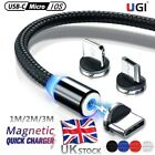 UK New Fast Charging Cable 1-3M Magnetic Charger IOS Lighting Type-C Micro USB