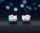 S925 Sterling Silver Pink Bow Hello Kitty Cat Stud Earrings