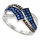 10kt White Gold Blue Color Enhanced Diamond Bypass Crossover Band Ring 1/2 Cttw