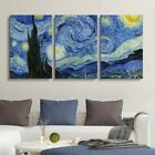 wall26 3 Panel Canvas Wall Art - Starry Night by Vincent Van Gogh
