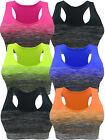 3 - 6 PACK SPORTS BRA RACERBACK ACTIVE WEAR YOGA TOP SEAMLESS SPANDEX FREE SIZE