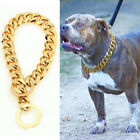 Внешний вид - Stainless Steel Chain Dog Collar Big Gold Plated Curb Training Walking Slip Link
